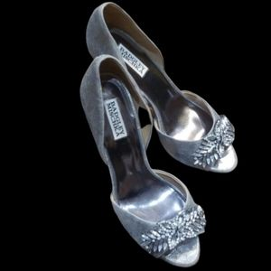 Badgley Mischka silver jeweled peep-toe heels